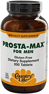 Country Life Prosta Max For Men - 200 Tablets - Men's Nutritional Complex - Includes Saw Palmetto and Pygeum