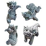 Auxsoul Dragon Statues 4Pcs Small Baby Dragon Statue Dragon Garden Statues, Resin Dragon Figurine Dragon Stone Funny Garden Gnomes Ornaments Decor(Grey)