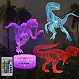Dinosaur 3D Night Light for Kids, Dinosaur Toys for Boys, 3 Patterns 16 Colors Dinosaur Lamp with Remote, Dinosaur Gifts for Birthday Party Supplies