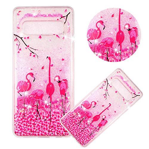 Glitzer Hülle für Samsung Galaxy S10,Flüssigkeit Silikon HandyHülle für Galaxy S10,Moiky Luxuriös Mode Flamingo Blume Muster Liebe Herzen Treibsand Diamant Weich Gummi Hülle