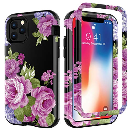 iPhone 11 Pro Case, Ankoe Flower Pattern Shockproof Heavy Duty Protection Hard Plastic Cover+Silicone Rubber Dual Layer Protective Phone Case for iPhone 11 Pro 5.8'(2019 Realease) (Purple)