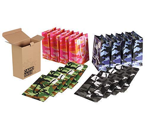 Camo Bags: 16 Goodie Bags For Kids Parties, Army Birthday Party Supplies, Or Video Game Birthday Party Supplies - A Great Alternative To Camo Wrapping Paper
