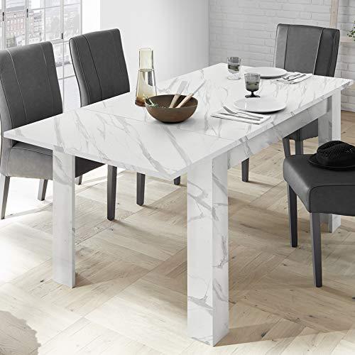 Mesa extensible 180 cm, efecto mármol blanco Iceland