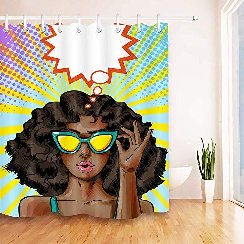 123456789 Pop Art Yellow Gafas de Sol Mujer afroamericana Cortina de Ducha Impermeable Material de poliéster Se Puede Lavar a máquina