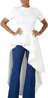 Women Ruffle Dip Hem High Low Asymmetrical Irregular Mock Neck Short Sleeve Bodycon Tunic Tops Blouse Shirt Dress