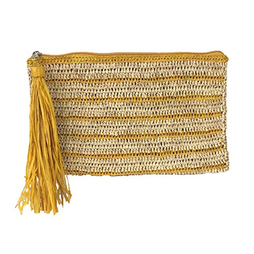 Mar Y Sol Kylie Striped Crochet Raffia Tassel Slim Clutch (Yellow/Natural)