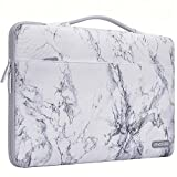 MOSISO Laptop Sleeve 360 Protective Case Bag Compatible with 13-13.3 inch MacBook Pro, MacBook Air, Notebook with Back Trolley Belt, Polyester Shockproof Carrying Case Handbag, White Marble