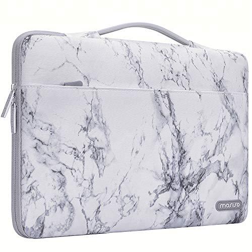 MOSISO 360 Schutz Laptop Aktentasche Handtasche Kompatibel mit 13-13,3 Zoll MacBook Pro, MacBook Air, Notebook mit Hinten Trolley Gürtel, Polyester Stoßfeste Sleeve Hülle Tasche, Weiß Marmor