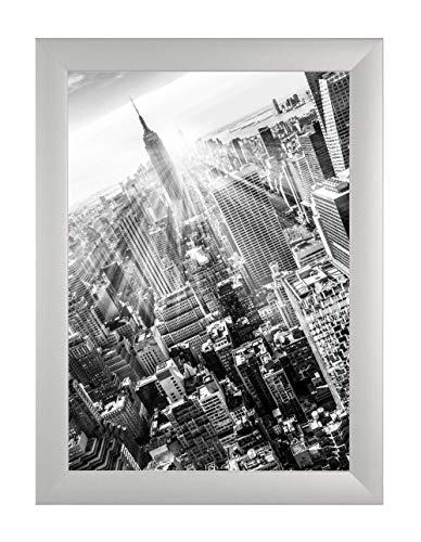 FRAMO 35 Puzzlerahmen 50 x 70 cm, Farbe: Silber Matt, handgefertigter Puzzle Bilderrahmen mit bruchfester Anti-Reflex Kunstglasscheibe, Rahmen Breite: 35mm, Außenmaß: 55,8x75,8cm