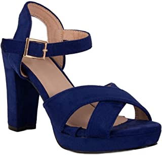 ef5741e4cfb65f Sandales Femme Bleu Roi Haut Talon carré 10cm avec Plateforme Bride & Bout  Ouvert-