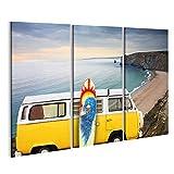 Bild Bilder auf Leinwand Bulli T1 Bus Surfboard Cornwall