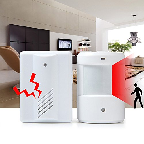 Vvbox PIR Infrared Sensors Wireless Doorbell 200Meter Remote Control Door Bell Alarm Detector for Home Office