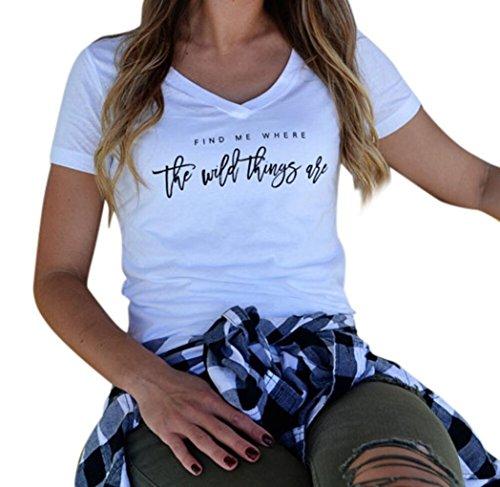 Ba Zha HEI Frauen Kurzarm Brief gedruckt Bluse Sehr Angenehm zu Tragen Weiches Material Damen T-Shirt Rundhals Kurzarm Ladies Sommer Casual Oberteil Locker Bluse Tops (Weiß, XL)