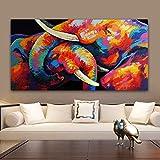 ganlanshu Pintura sin Marco Elefante Colorido y Imagen de Arte de Pared de bebé, Sala de Estar Pintura de Lienzo de Dormitorio ZGQ6147 50X100cm