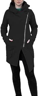Armfre Tops Women's Cowl Neck Long Sleeve Jackets Oblique Zip up Windbreaker Coat with Hood Shirts Oversized Irregular Hem Thumb Holes Tunic Pullover