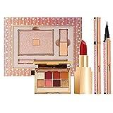 Set de regalo de maquillaje Paleta de sombras de ojos de alta pigmentación + Lápiz labial de larga duración + Delineador de ojos Kit de paquete de regalo de belleza de maquillaje de larga duración