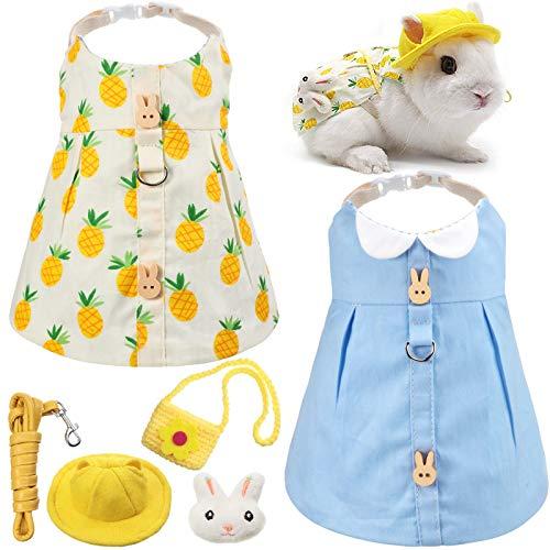 2 Pieces Pet Rabbit Dress, Small Animal Harness Vest and Leash with Mini Hat Bag Travel Escape Proof Pet Harness Dress for Rabbit Hedgehog Ferret Guinea Pigs Piggies Squirrel (Blue)