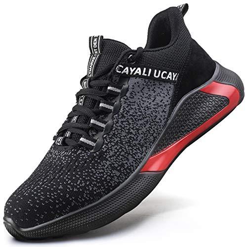 UCAYALI Zapatos de Seguridad Hombre Antideslizante Zapatillas de Trabajo con Puntera de Acero Ligeros Bambas de Seguridad Negro Gr.43