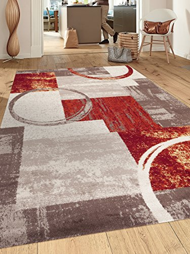 Rugshop Contemporary Abstract Circle Design Soft Indoor Area Rug, 5'3″ x 7'3″, Multicolor