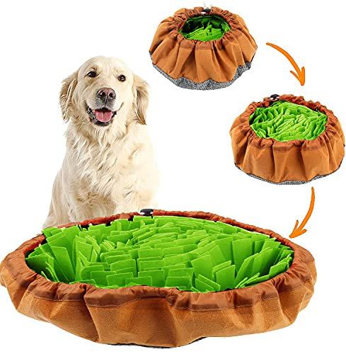 Snuffle Mat for Dogs Large, Dog Puzzle Toys for Smart Dogs, Slow Eating Dog Bowl, Dog Interactive Toys Encourages Natural Foraging Skills (Green)