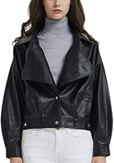DISSA PP1898 Women Faux Leather Cropped Jacket Loose Coat