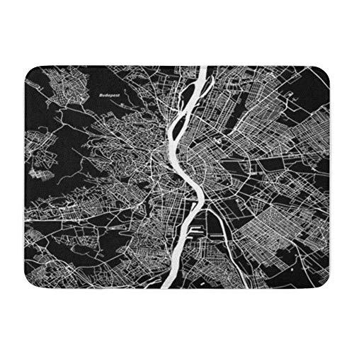 Badteppich Flanellstoff Weiches, saugfähiges Material Stadtplan von Budapest Kunstdruck Schwarz Landmasse Weißes Wasser und Straßen Geografie Gemütlicher, dekorativer, Rutschfester Badteppich