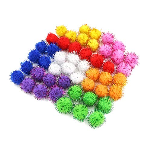 NUOBESTY - Bolas de pompón con purpurina - varios colores - 30 mm con purpurina - 200 unidades
