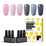 Lagunamoon Esmaltes Semipermanentes, 6pcs Kit de Uñas de gel UV LED, Pintauñas Semipermanentes Set...