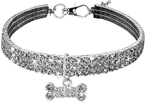 Necklace for Small Dog Girl Wakeu Rhinestone Bling Collars with Bone Pendant (M, Silver)