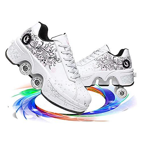 LDTXH Inline-Skate, Roller Skates 2 in 1 Abnehmbar Riemenscheibe Skate Zweireihige Radschuhe, Verstellbare Quad-Rollschuh-Stiefel, Mehrzweckschuhe Können Geschenk Für Kinder,White Flower,41