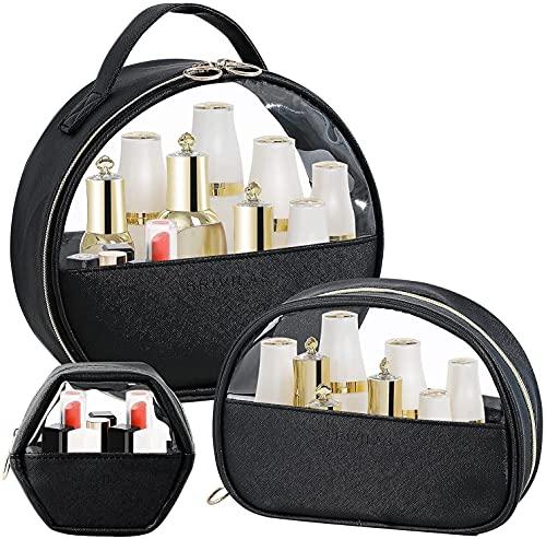 SONG Viajes Cosméticos Bolsas Pequeño Organizador de Cosméticos Bolsa Grande Embloque de Aseo Caja Clear Bolsas cosméticas a Prueba de Agua para Mujeres Regalos 3 en 1 (Color : Black)