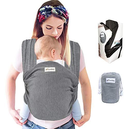 DearBaby | Fascia Porta Bambino - Ergonomica - Marsupio Per Neonati e Bebè fino a 6kg - Cotone Morbido - 0-36 mesi - Unisex - Grigio
