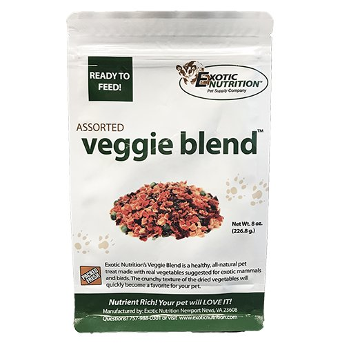 Veggie Blend (8 oz.) - Healthy Natural Mixed Dried Vegetable Treat - Sweet Potatoes, Carrots, Peas - For Degus, Chinchillas, Prairie Dogs, Rabbits, Sugar Gliders, Hedgehogs, Guinea Pigs & Small Pets