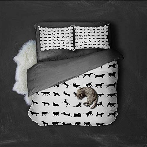 HELLOLEON Black and White Extra Large Quilt Cover Different Silhouettes Dogs Various Breeds Corgi Golden Retriever Pitbull Can be Used as a Quilt Cover-Lightweight (Twin) Black White