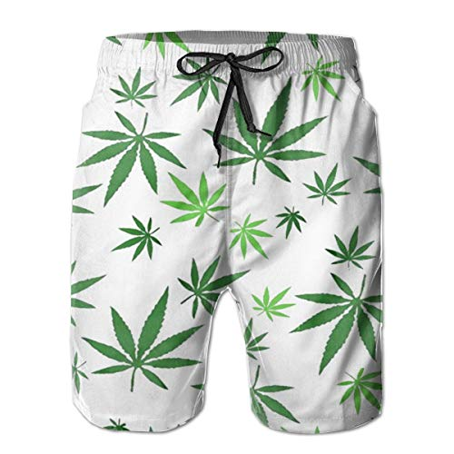 YongColer Men's Marijuana Weed Green Short Swim Trunks Best Board Shorts for Sports Running Swimming Beach Surfing Quick Dry Breathable Bathing Suits Beach Holiday Party Swim Shorts (L)