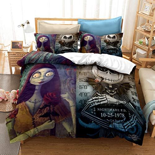 YZHY Juego de cama para cama de matrimonio con diseño de calavera y Sally Valentine, para adultos, tamaño King, Pesadilla antes de Navidad, para niños (200 x 200)