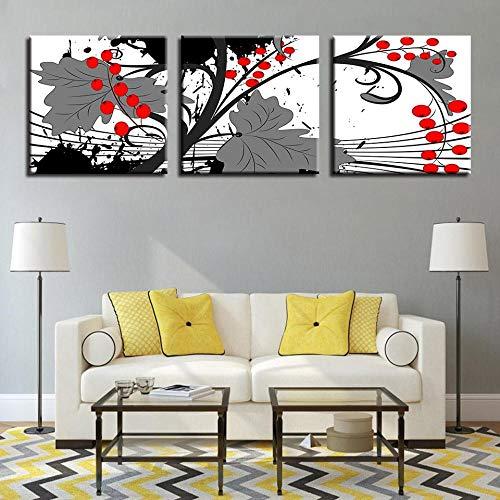VVSUN Arte de Pared Decoración para el hogar Cuadros en Lienzo 3 Piezas Pinturas de Frutas Rojas Sala de Estar Impresiones en HD Carteles de Hojas de piracanta 50X50cm 20x20 Pulgadas Sin Marco