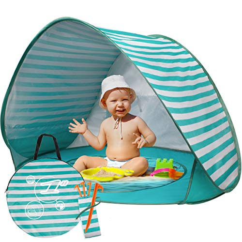 BUENAVO Baby Beach Tent Pop Up, Portable Beach Tent for Baby with Detachable UV Protection UPF 50+ Sun Shelter with Mini Pool for Infant … (Green)
