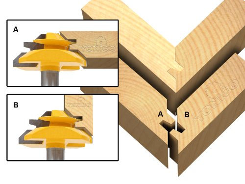 Yonico 15127 45 Degree - Up to 3/4-Inch Stock Lock Miter Router Bit 1/2-Inch Shank