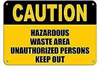 注意有害廃棄物エリア許可されていない人は壁の金属ポスターを締め出しますレトロなプラーク警告ブリキの看板ヴィンテージ鉄の絵画の装飾オフィスの寝室のリビングルームクラブのための面白い吊り下げ工芸品