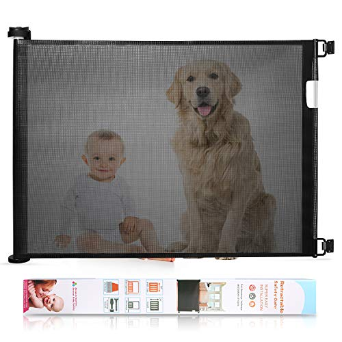 Babepai Retractable Baby Gate Wide Safety Mesh Gate Easy to Roll and...