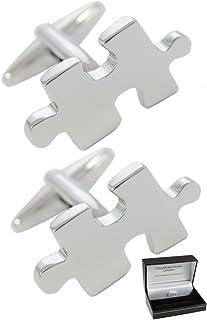COLLAR AND CUFFS LONDON - Gemelli di Alta qualità e Scatola Regalo - Classica Gioco di Pazienza - Jigsaw Puzzle - Ottone -...