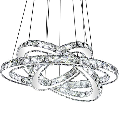 KMMK Novely Chandeliers- Lámpara de techo de araña Posmoderna Simple Cristal creativo Iluminación de tres círculos para sala de estar/Dormitorio/Restaurante/Café Plata