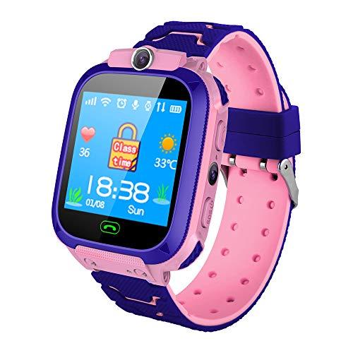 Winnes S12 Reloj inteligente impermeable para niños con rastreador GPS SmartWatch Llamada SOS para niños Anti Perdida Monitor Bebé Reloj de Pulsera para Niño Niñas (PINK)