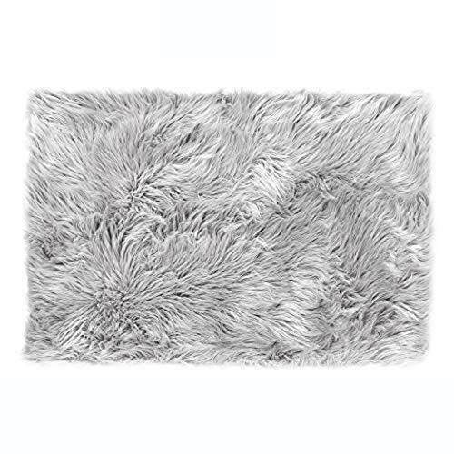 Lammfell-Teppich Kunstfell Schaffell Imitat | Wohnzimmer Schlafzimmer Kinderzimmer | Als Faux Bett-Vorleger oder Matte für Stuhl Sofa (Grau - 60 x 90 cm)