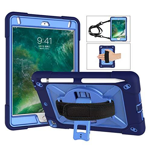 J&H - Funda resistente para iPad Mini 1/2/3, funda de transporte con correa para el hombro, correa de mano, soporte para lápiz, rotación de 360 grados, protección de 3 capas resistente a los golpes para iPad Mini/iPad Mini 2/iPad Mini 3