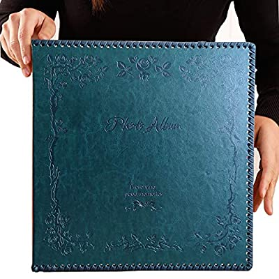 Totocan Photo Album Self Adhesive, 80 Pages Huge Magnetic Self-Stick Page Picture Album with Leather Vintage Inspired Cover, Hand Made DIY Albums Holds 3X5, 4X6, 5X7, 6X8, 8X10 Photos (DarkGreen)