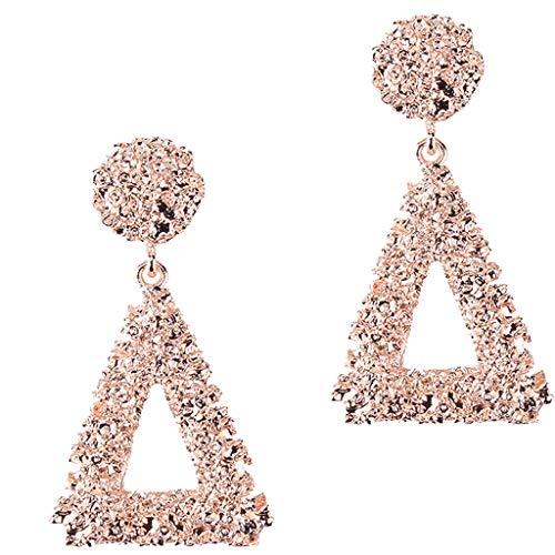 Harilla Pendientes Colgantes Triangulares Geométricos Huecos Pendientes Grandes De Exageración Vintage - Oro rosa, tal como se describe