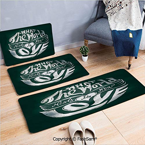 3 Piece Non Slip Flannel Door Mat What the World Needs Now is Love Quote Lettering Art Circle Grunge Typography Decorative Indoor Carpet for bath Kitchen(W15.7xL23.6 by W19.6xL31.5 by W17.7xL53)