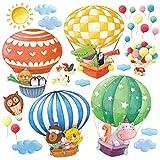DECOWALL DS-8006 Globos Aerostáticos de Animales (Pequeña) Vinilo Pegatinas Decorativas Adhesiva Pared Dormitorio Saln Guardera Habitaci Infantiles Nios Bebs